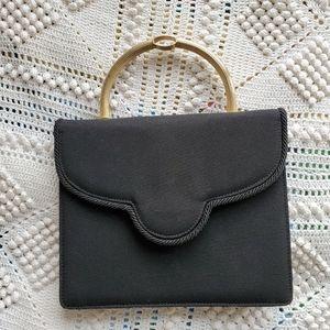 Retro black mini handbag with gold toned handle